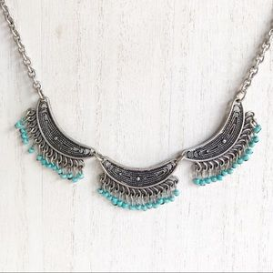 Southwest Silver Tone Faux Turquoise Necklace